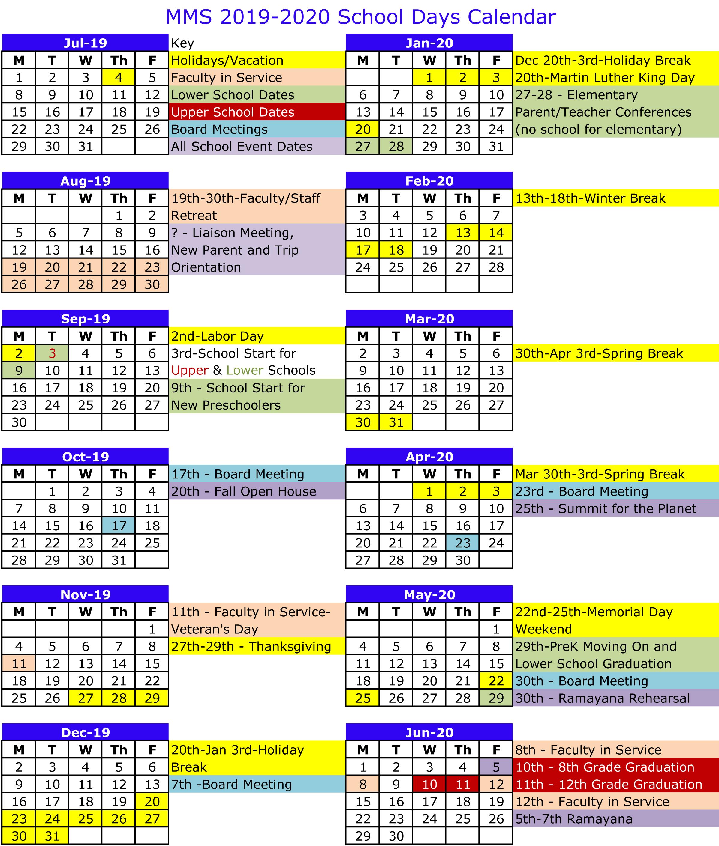 Calendario Madonna 2020.2019 2020 School Days Calendar Mount Madonna School